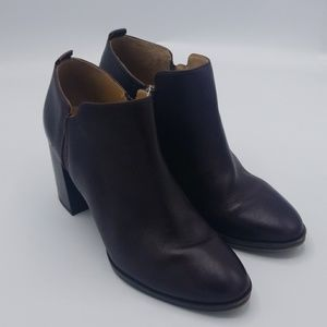 Franco Sarto dark chocolate heeled leather booties